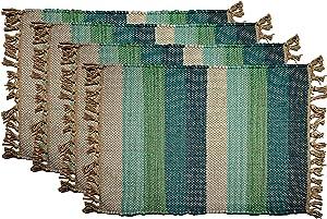Chardin Home Global Stripe Eco-Friendly Jute Placemats (Set of 4 mats). Size: 13