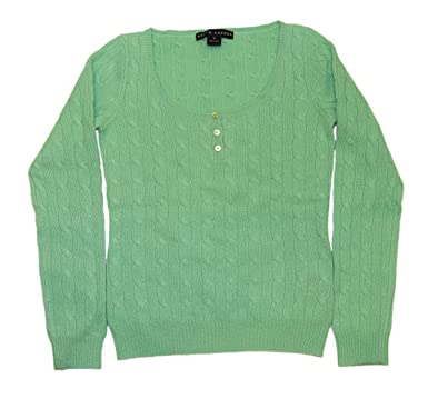 8db00b4cc Image Unavailable. Image not available for. Color  Ralph Lauren Polo Black  Label Womens Henley Cable Cashmere Sweater Green Medium