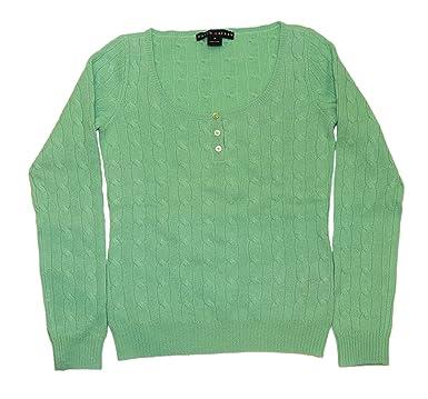 44664738e85ad Ralph Lauren Polo Black Label Womens Henley Cable Cashmere Sweater ...