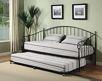 kings brand furniture matt black metal twin size day bed daybed frame with trundle