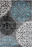 """Contemporary Modern Floral Gray 5'3"""" x 7'3"""" Indoor"""