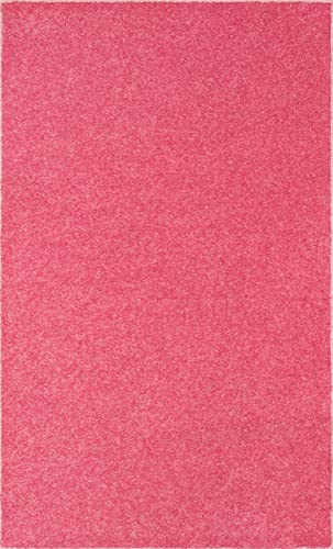 Ambiant Saturn Collection Pet Friendly Area Rug Pink, 12 x 15