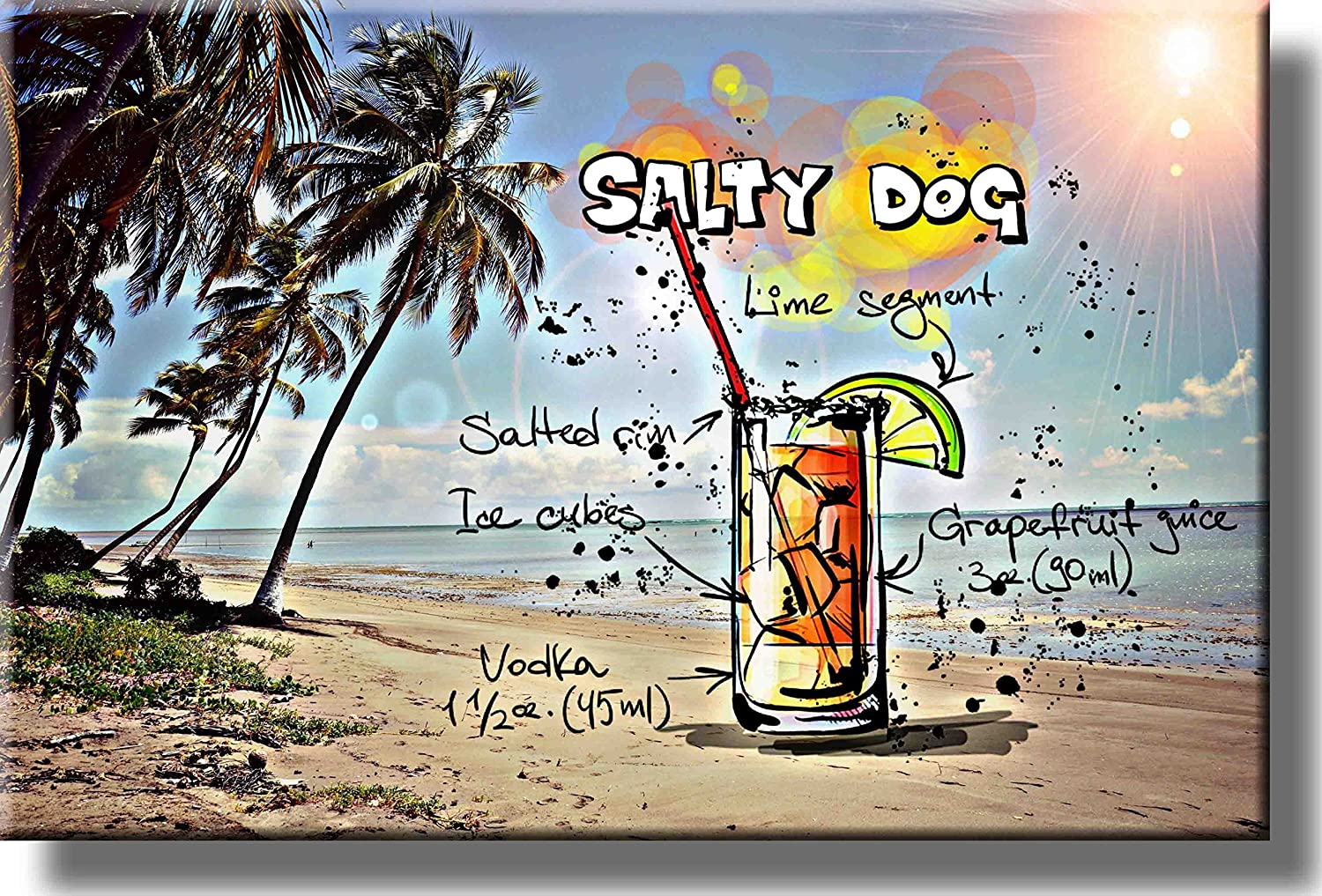 Salty Dog Cocktail Recipe Picture on Stretched Canvas, Wall Art Decor, Ready to Hang!