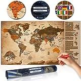 decomonkey | Rubbelweltkarte | 100x50 cm | Weltkarte zum Rubbeln mit Fahnen/ Nationalflaggen | Rubbelsposter | Rubbelkarte | FULL HD | Rubbellack | Rubbelbild | Mehrfarbiger Rubbellack | Scratch Off World | Travel Map | Landkarte | Poster | Weltkarte um Reisen