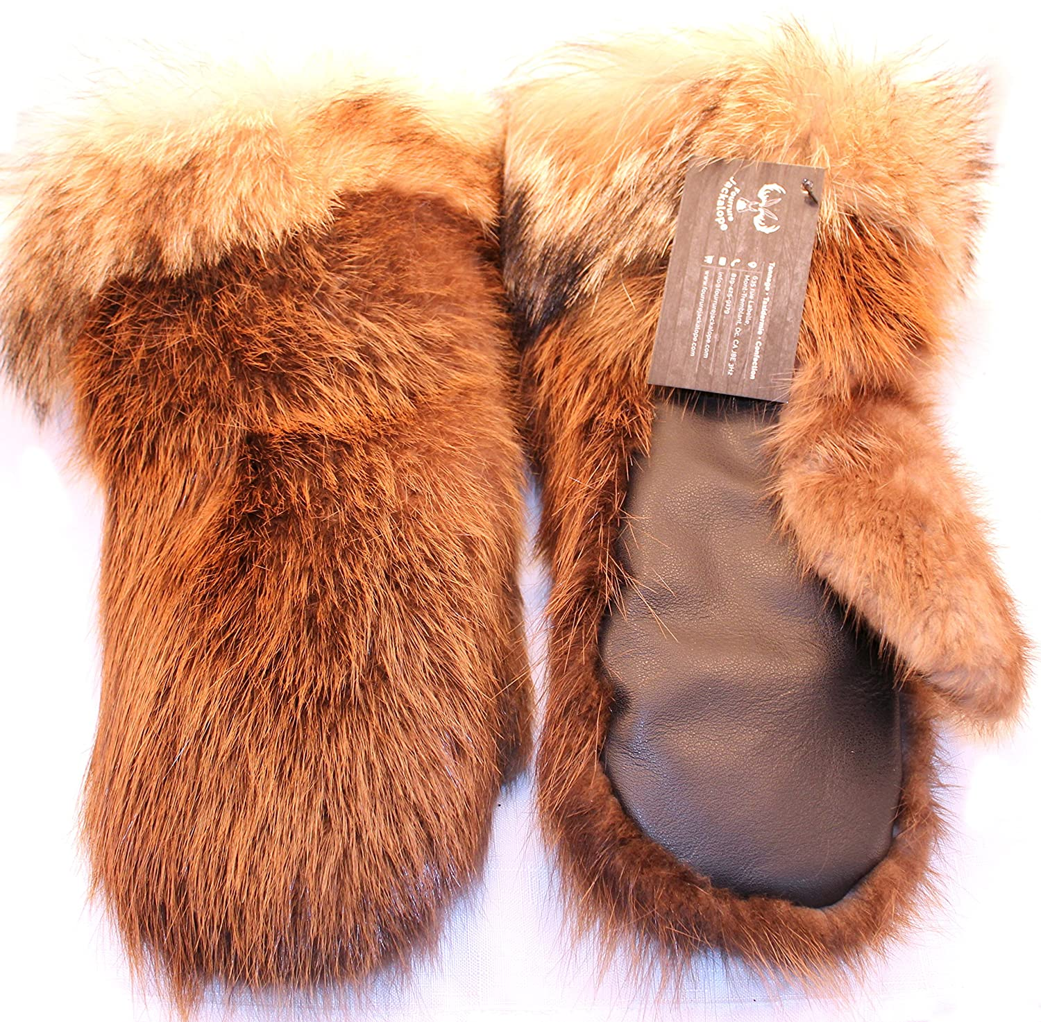 Women's long mittens for winter real beaver and coyote fur (M) Fourrure Jackalope