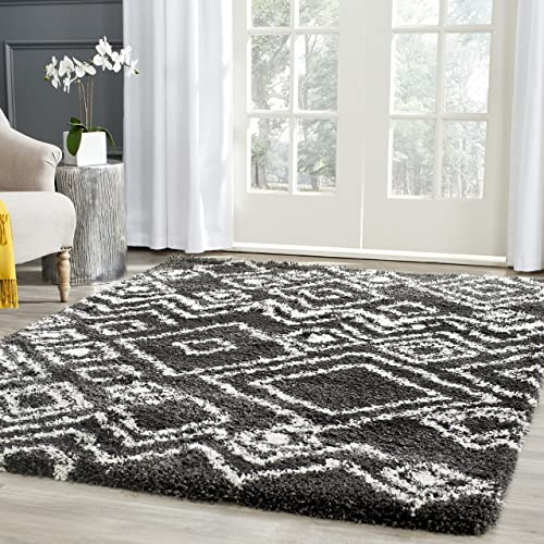 Safavieh Belize Shag Collection SGB488C Charcoal and Ivory Area Rug 8 x 10