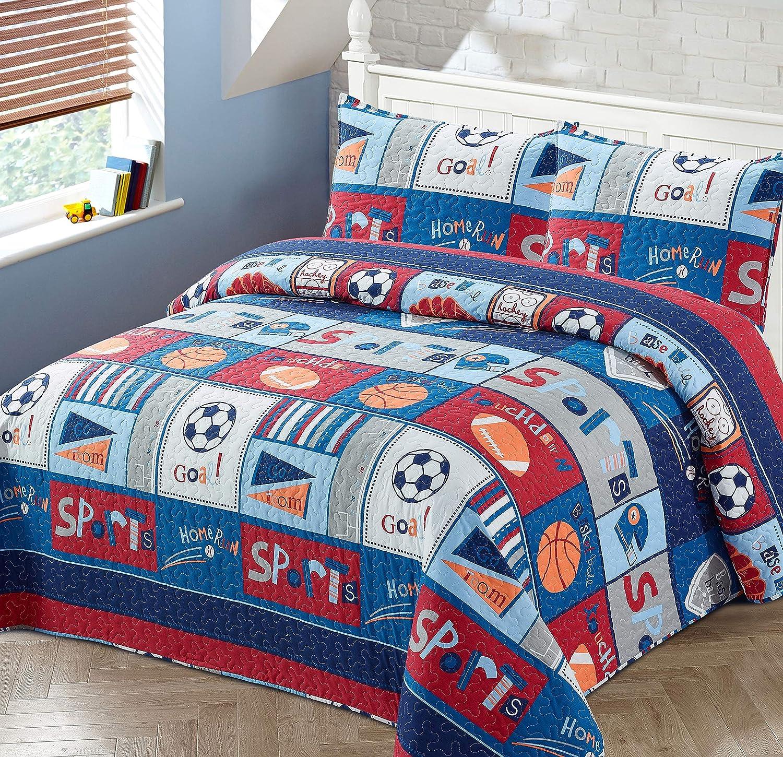 2pc Twin Bedspread Coverlet Quilt Set Sports for Boys//Kids Baseball Basketball Soccer Ball Football Hockey Home-run Touchdown Red Blue