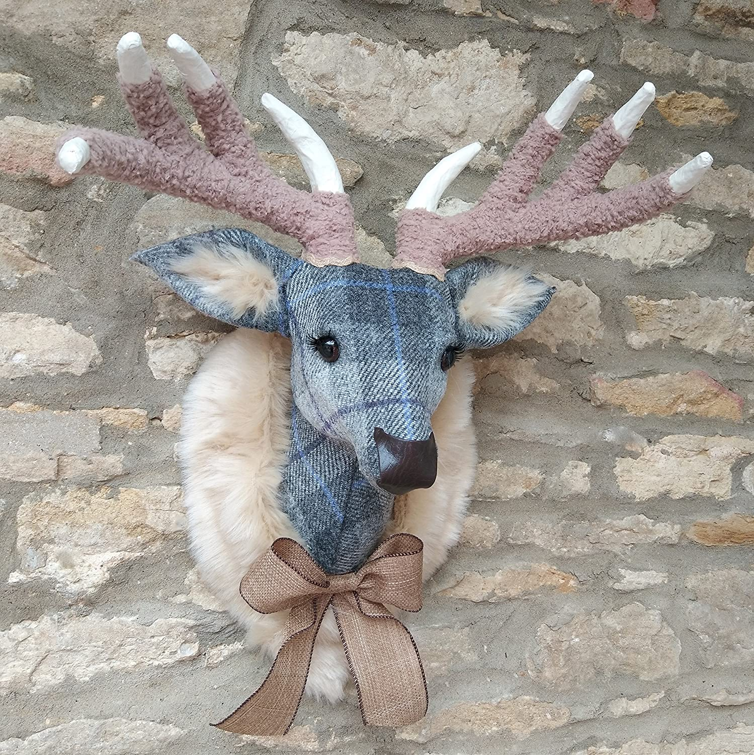 Amazon com: Handmade faux taxidermy Harris tweed grey check
