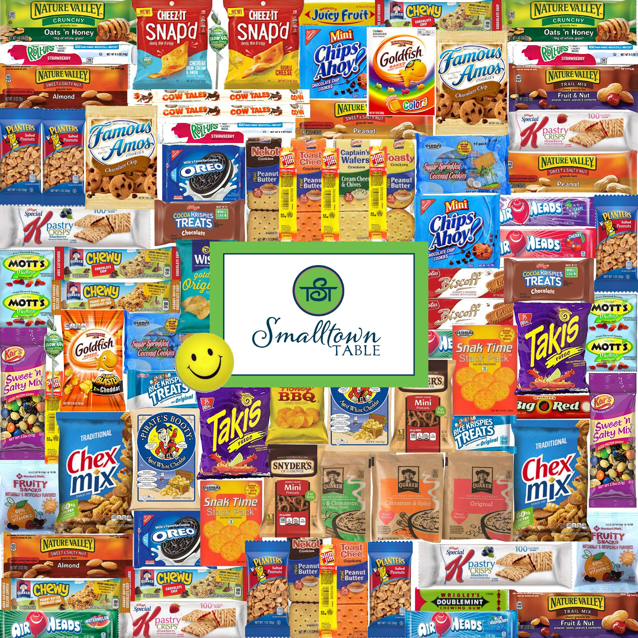Premium Snacks Variety Pack Care Package - Huge 100 Count - the Perfect Gift Box for Office, College Students, Camp, Military - Individually Wrapped Chips, Cookies, Candy, More by SmallTown Table (Image #1)