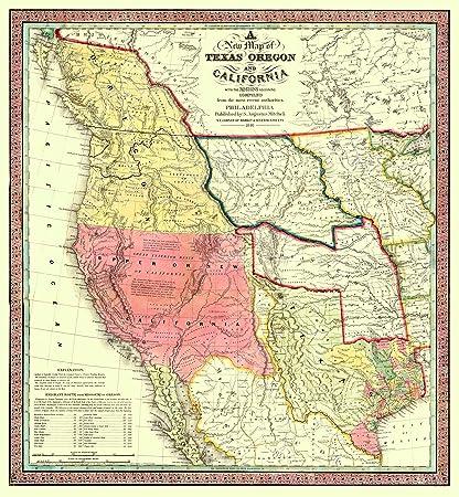 Map Of America Oregon.Amazon Com Old North America Map Texas Oregon Californias