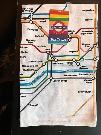 Geschirrtuch London U Bahn Metro Karte Amazon De Kuche Haushalt