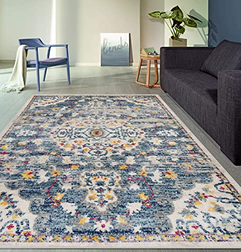 Rugshop Havana Collection Distressed Medallion Bohemian Soft Area Rug 7 10 x 10 Blue