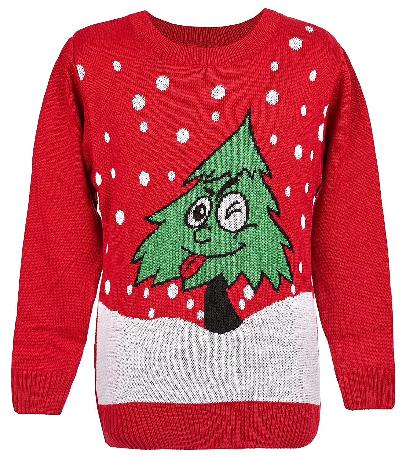 Maan Store Unisex Kids Christmas Jumper Girls BoysXmas Jumpers Christmas Tree with Wink Eye