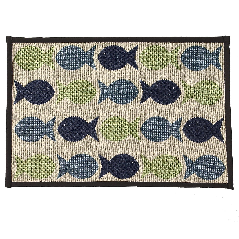 PetRageous Kool Fishies Tapestry Mat Feeder 13 x 19 Small