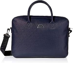 A|X Armani Exchange Men's Geometric Plaque Briefcase, navy, UNI
