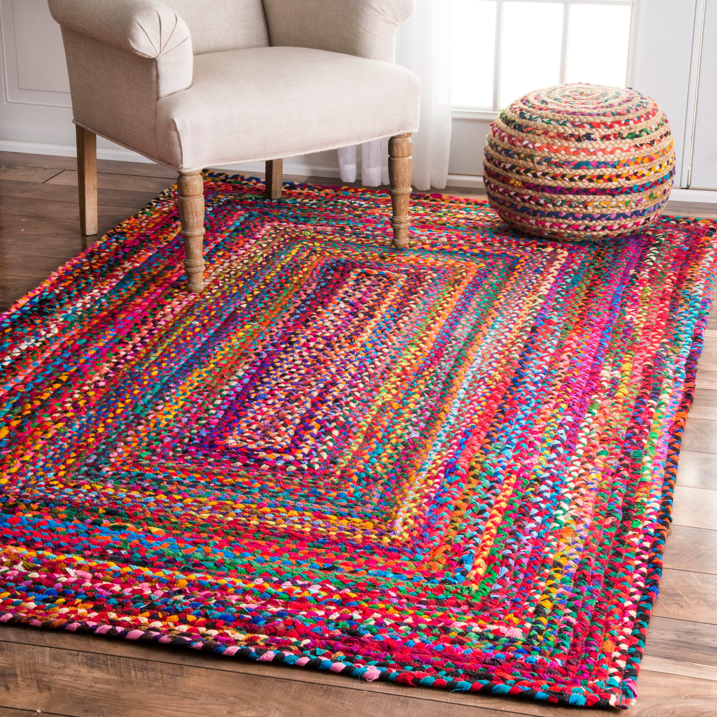 Casual Handmade Braided Cotton Multi Area Rugs, 7 Feet 6 Inches by 9 Feet 6 Inches (7' 6'' x 9' 6'')