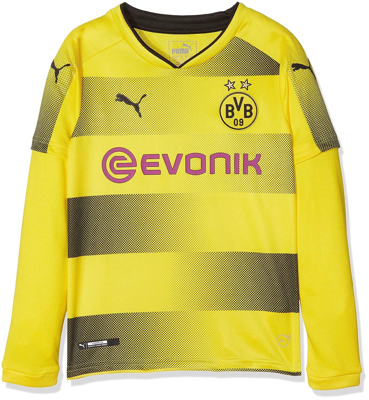 Puma Kinder BVB Kids Ls Home Replica with Sponsor Logo Shirt