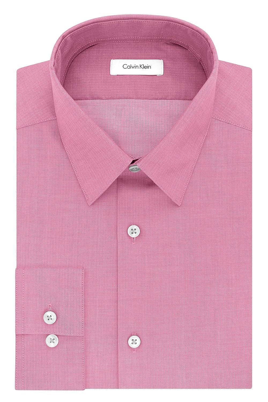 Calvin Klein Men's Slim Fit Non-Iron Solid Herringbone Shirt 33K2479