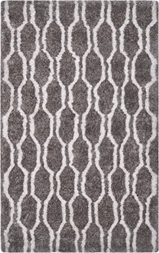 Safavieh Barcelona Shag Collection BSG322B Handmade Silver and Ivory Polyester Area Rug 8' x 10'