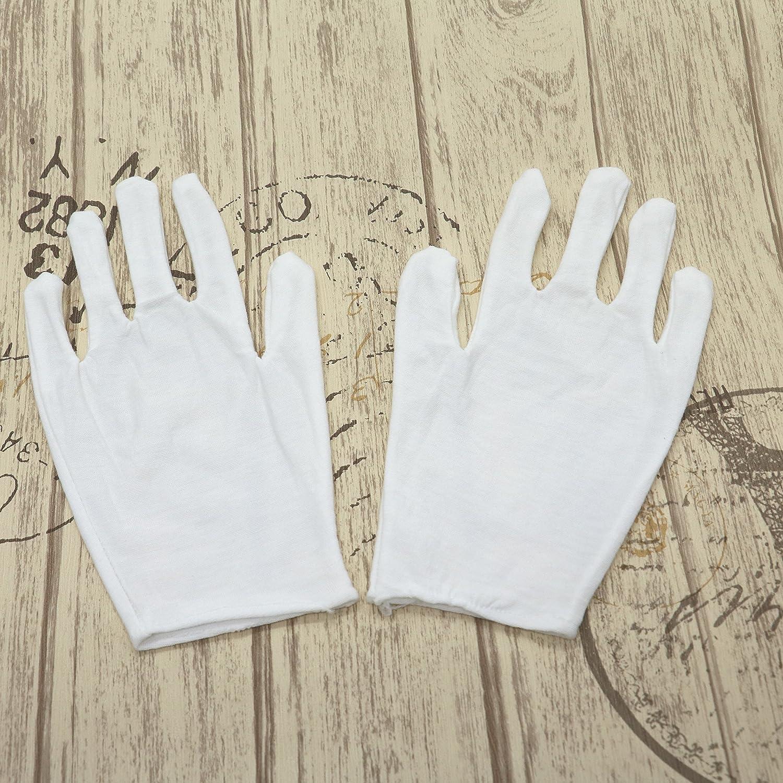 ID 16ペアホワイトコットンコインジュエリーシルバー検査用手袋、8.6