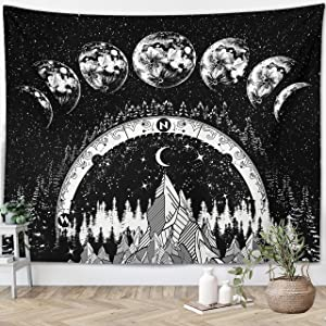 "Moon Phases Tapestry Starry Night Wall Hanging Moon Landscape Night Sky Lunar Phases Bohemian Moon Eclipse Black And White Wall Decor Universe Planets Galaxy Tapestry (59""x79"")"