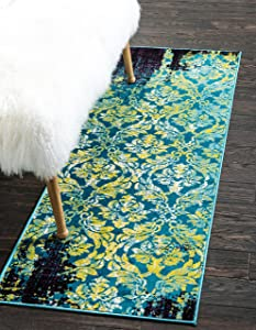 Unique Loom Imperial Collection Modern Traditional Vintage Distressed Blue Runner Rug (3' 0 x 9' 10)