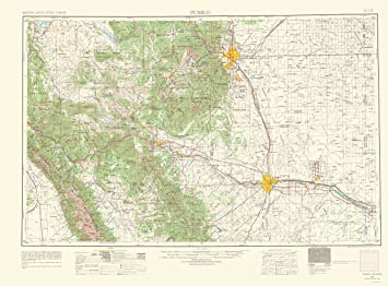 Amazon Com Topographical Map Print Pueblo Colorado Usgs 1966