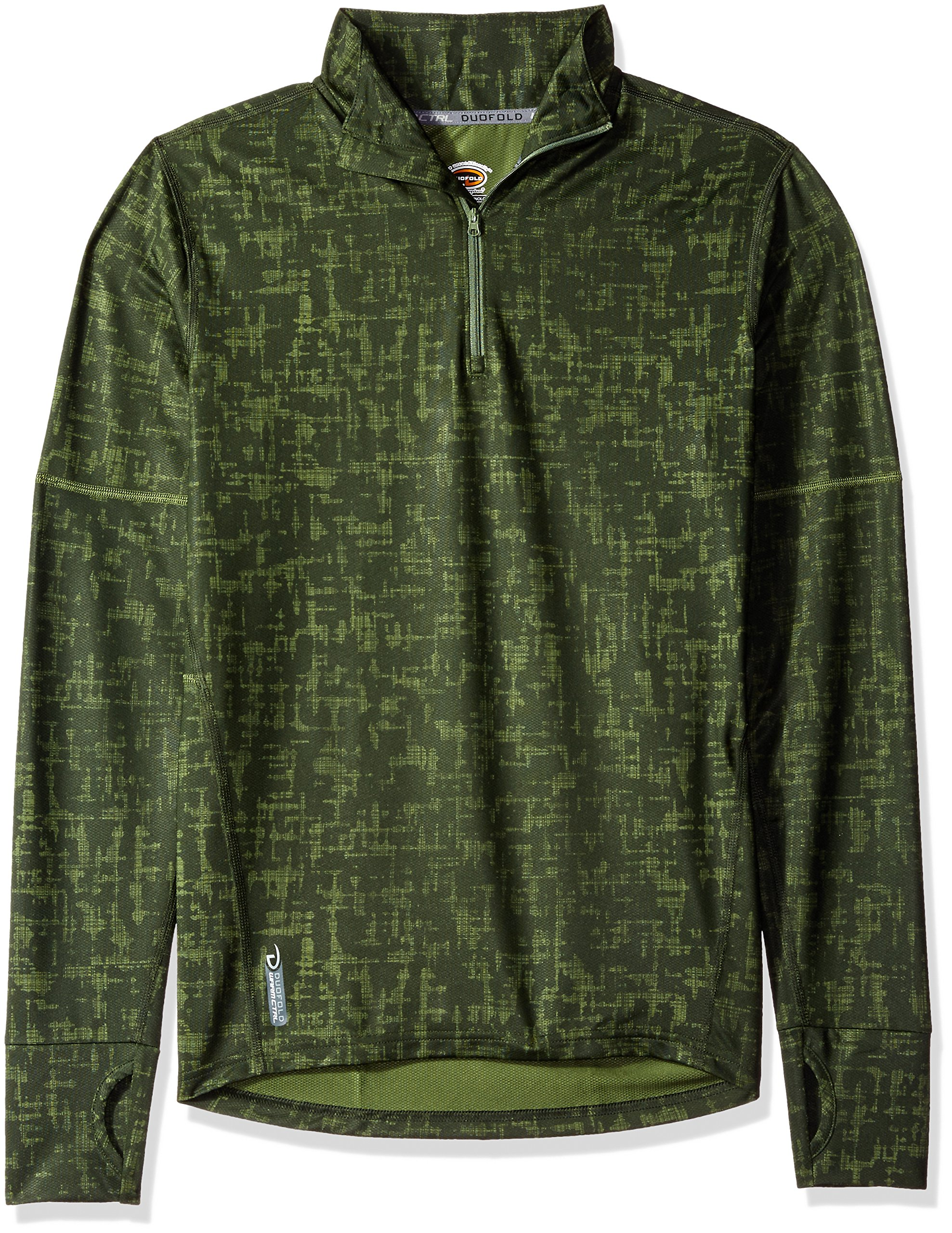 Duofold Men's Light Weight Thermatrix Performance Thermal Quarter Zip Pullover, Service Green Glitch Texture, L