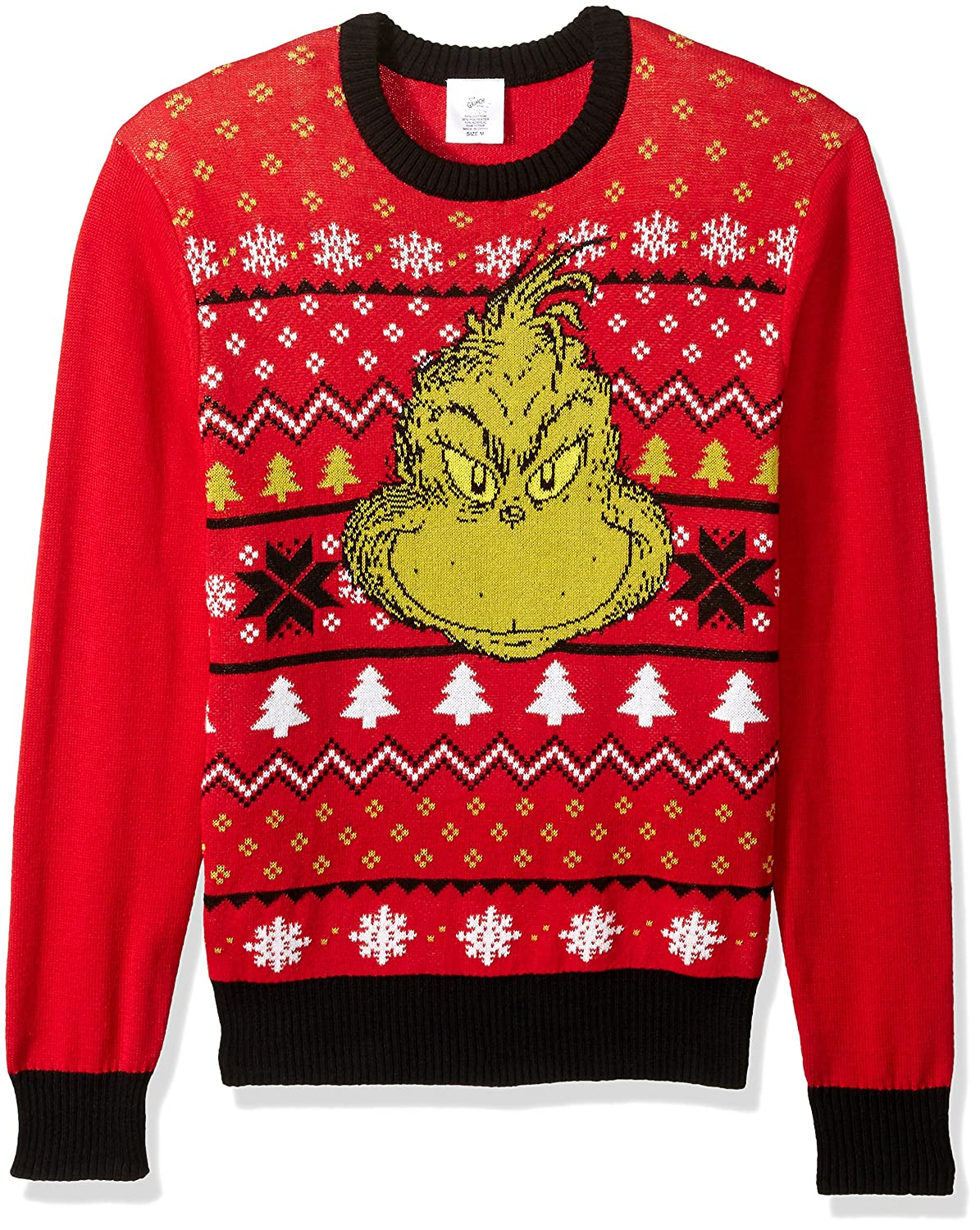 Amazoncom Dr Seuss Mens Grinch Face Ugly Christmas Sweater Red