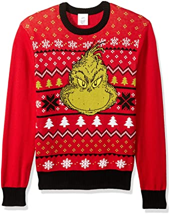 849b8906db2bed Amazon.com: Dr. Seuss Men's Grinch Face Ugly Christmas Sweater: Clothing