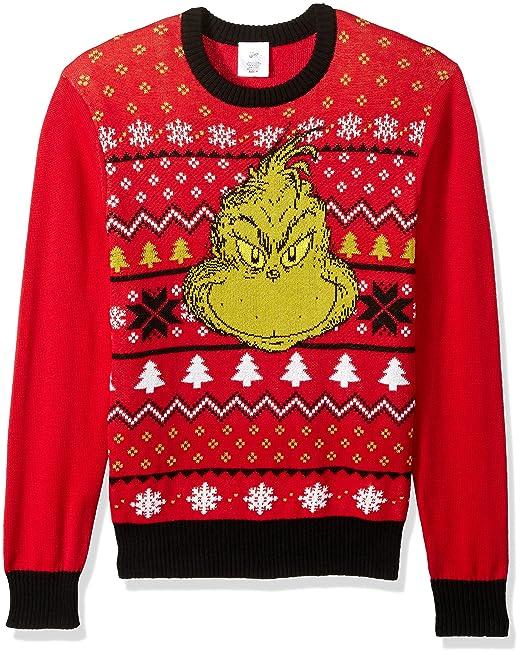 0144edd7bfb Dr. Seuss Mens Grinch Face Ugly Christmas Sweater Suit Vest