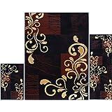 "Home Dynamix Ariana Galil 3 Piece Area Rug Set | Warm & Plush Black, Gold | Living Room, Dining Room, Bedroom | Modern Swirl Geo Design | 4'11""x6'11"", 1'8""x4'11"", 1'8""x2'8"""