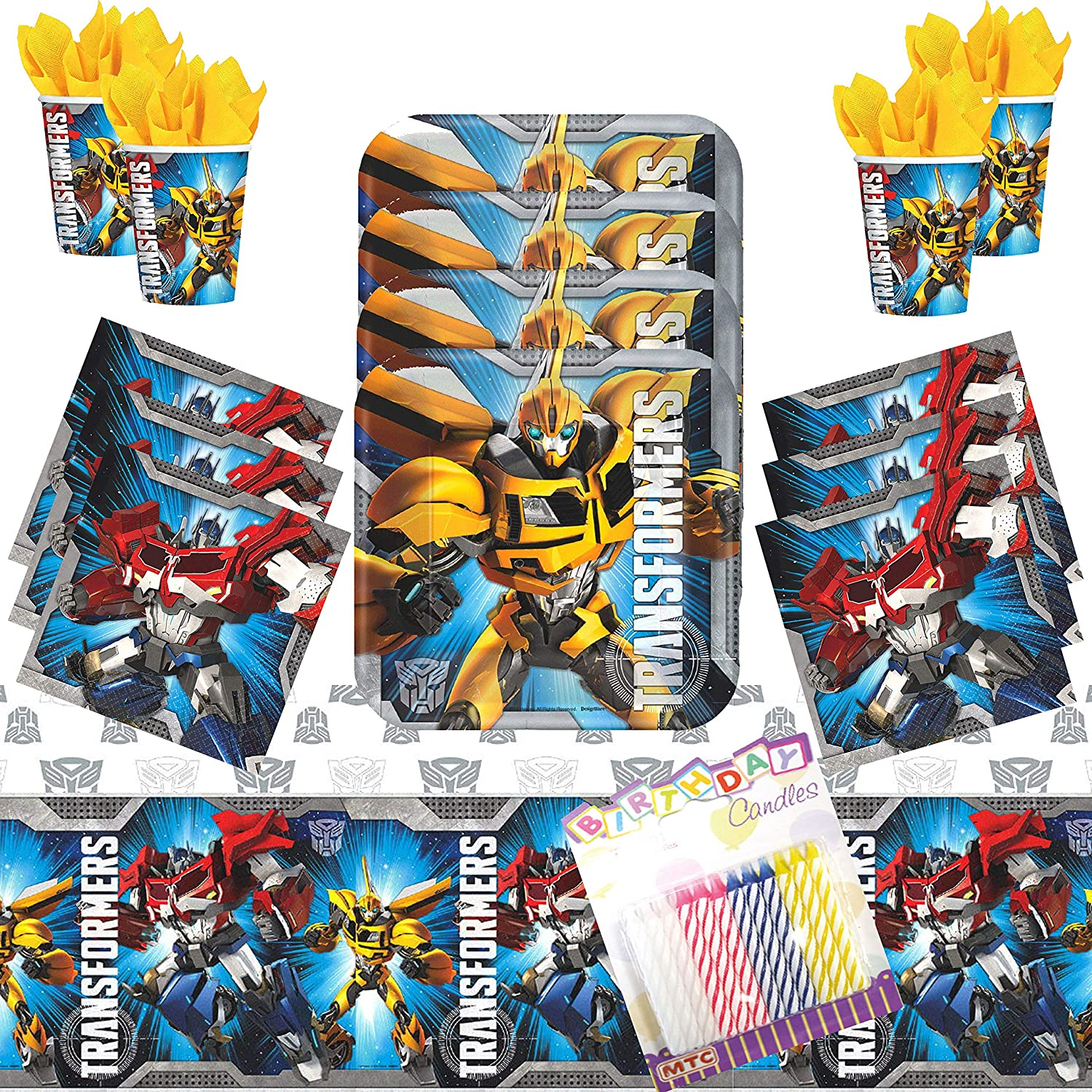 """Transformers Party Supplies Pack Serves 16: 7"""" Plates Beverage Napkins Cups and Table Cover with Birthday Candles (Bundle for 16)"""