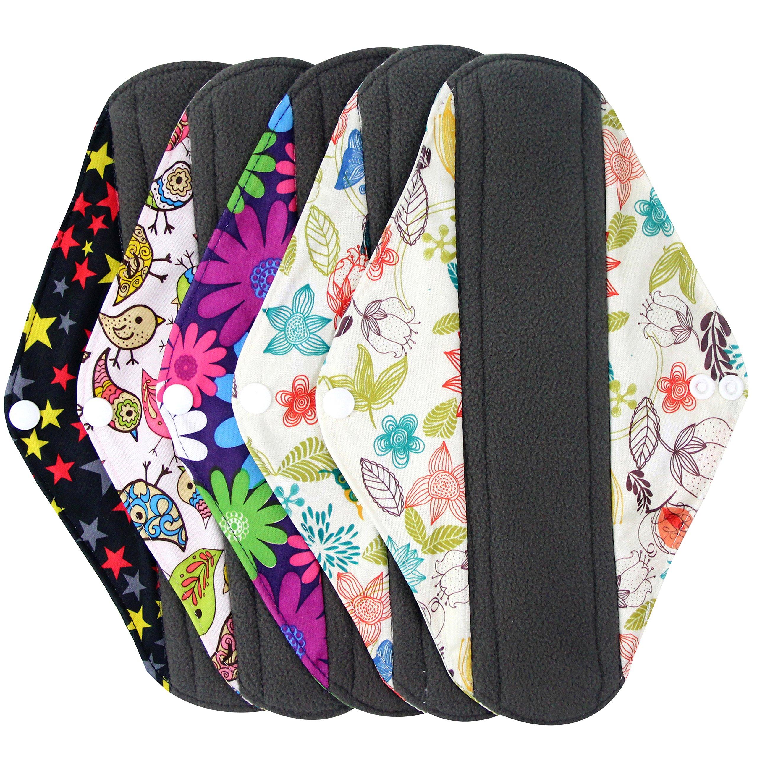 Wegreeco Bamboo Reusable Sanitary Pads - Cloth Sanitary Pads - Pack of 5 (Medium, Mix Prints)