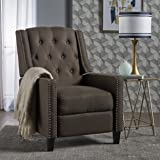 Ingrid Recliner Chair | Perfect for Living Room, Office | Nail Head Accent | Upholstered in a Coffee Fabric