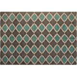 Chesapeake Jute/Cotton Printed Area Rug, 5-Feet by 7-Feet, Turquoise and Taupe