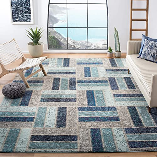 Safavieh Monaco Collection MNC214E Modern Geometric Patchwork Grey and Blue Distressed Area Rug 9 x 12