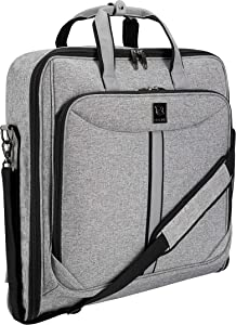 ZEGUR Suit Carry On Garment Bag for Travel and Business Trips - Fancy Design - with Shoulder Strap and Organization Pockets (Luxury Gray)