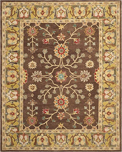 Safavieh Anatolia Collection AN562A Handmade Traditional Oriental Brown and Gold Wool Area Rug 8' x 10'