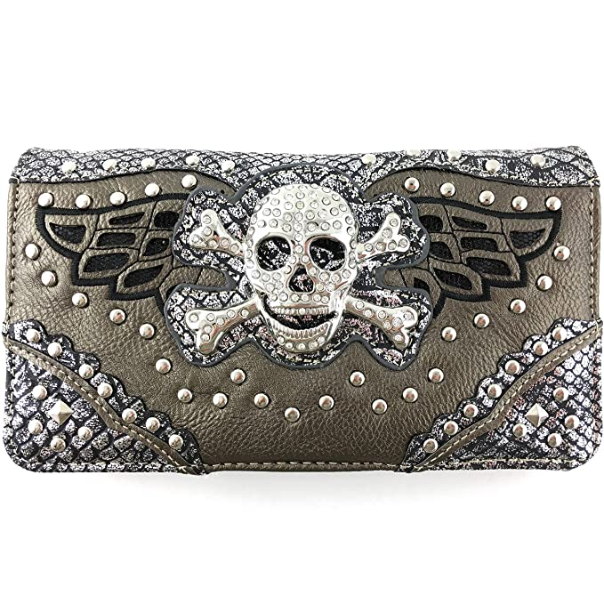 f73071a98b2d Justin West Skull Crossbones Angel Wings Bling Concealed Carry Handbag Purse  Trifold Crossbody Wallet (Pewter