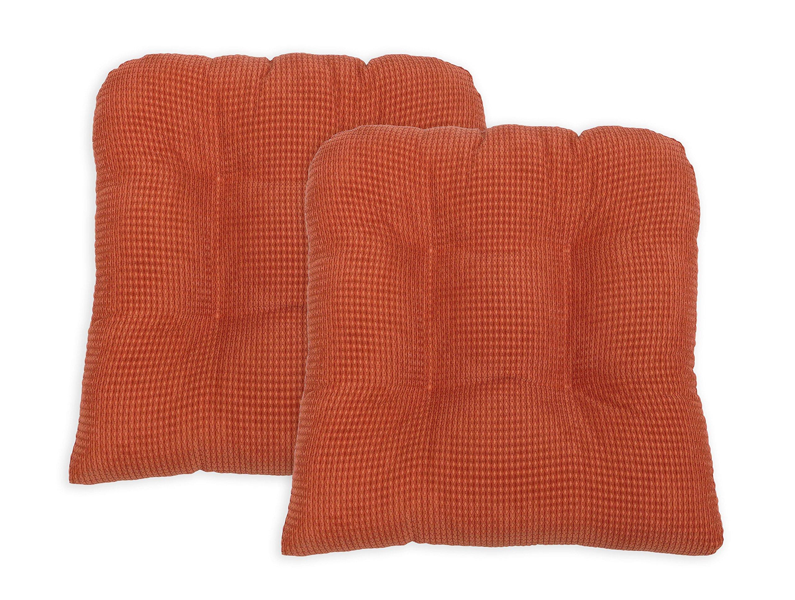 Arlee Memory Foam, Non-Skid Chair Pad Seat Cushion, Set of Two (2), Autumn Glaze Orange, 2 Piece