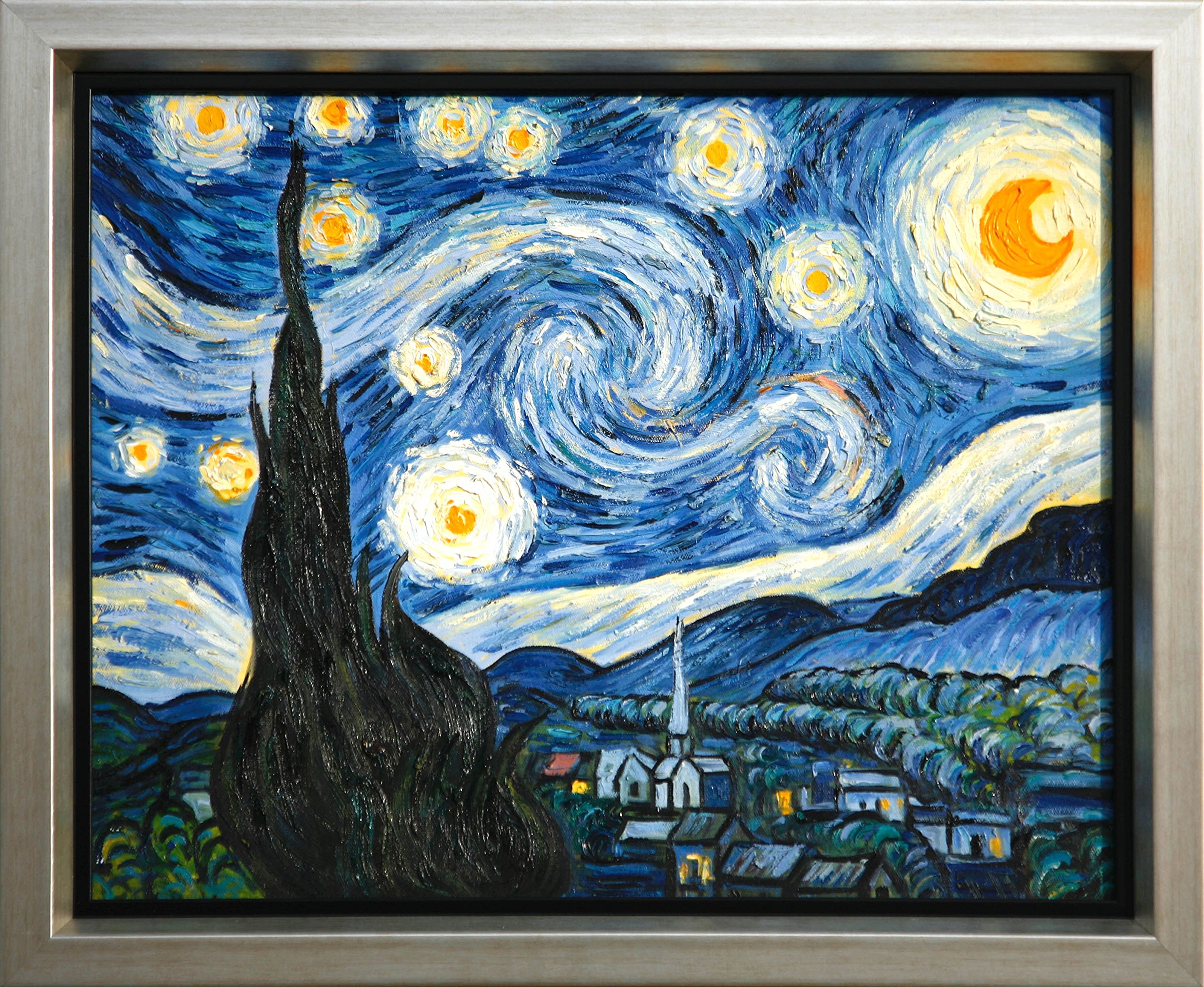 The Starry Night by Van Gogh 100% Hand Painted Oil on Canvas Museum Quality
