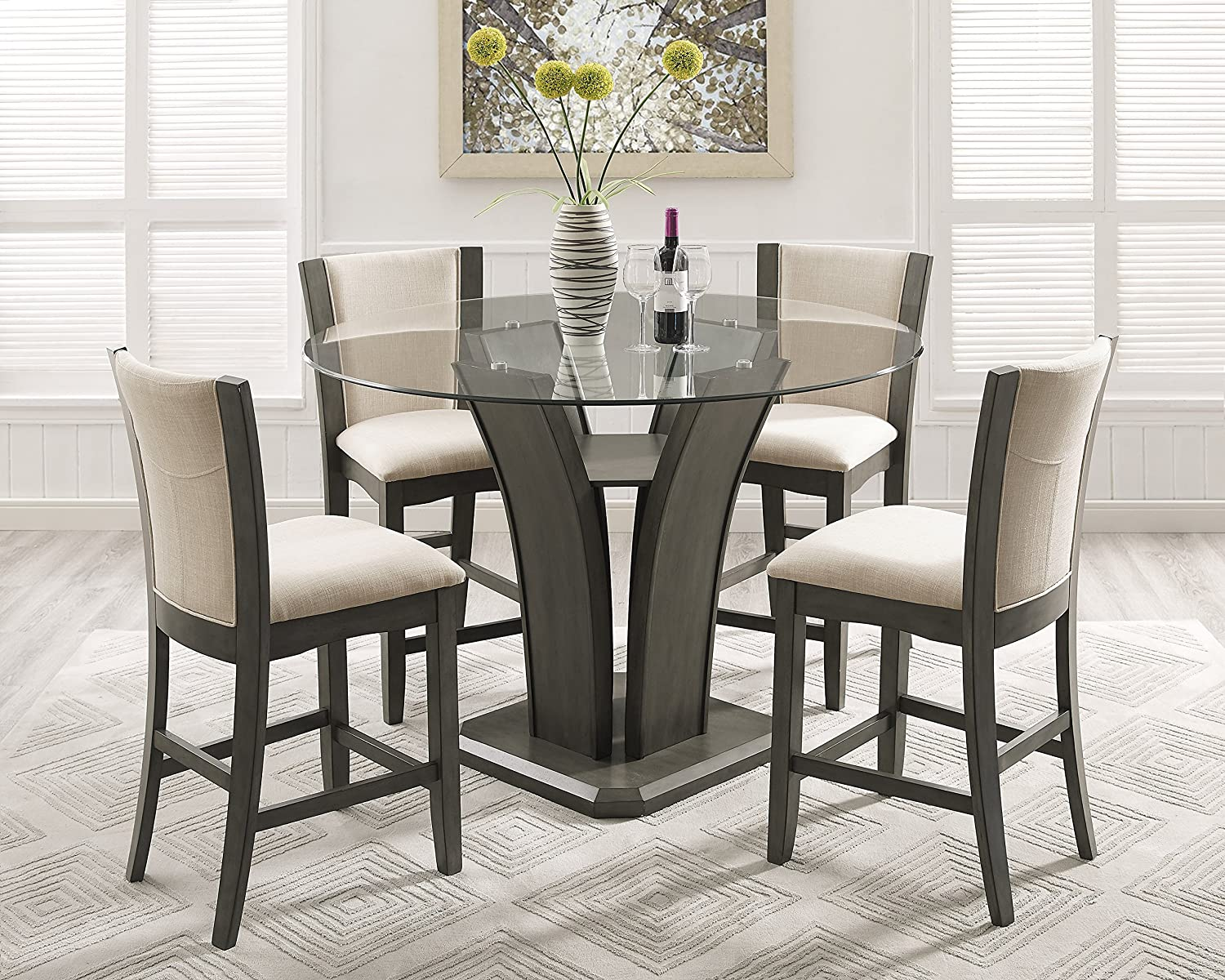Amazon com roundhill furniture p051gy kecco gray 5 piece round glass top counter height dining set table chair sets