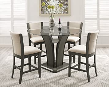 Astounding Roundhill Furniture P051Gy Kecco Gray 5 Piece Round Glass Top Counter Height Dining Set Beutiful Home Inspiration Truamahrainfo