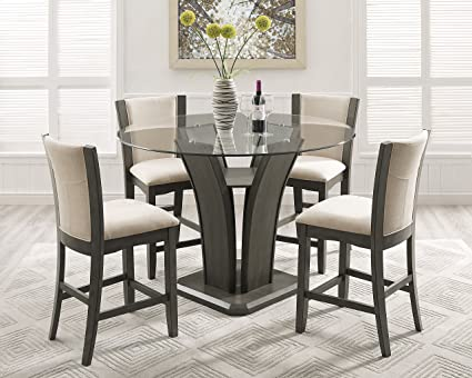 Amazon Com Roundhill Furniture P051gy Kecco Gray 5 Piece Round