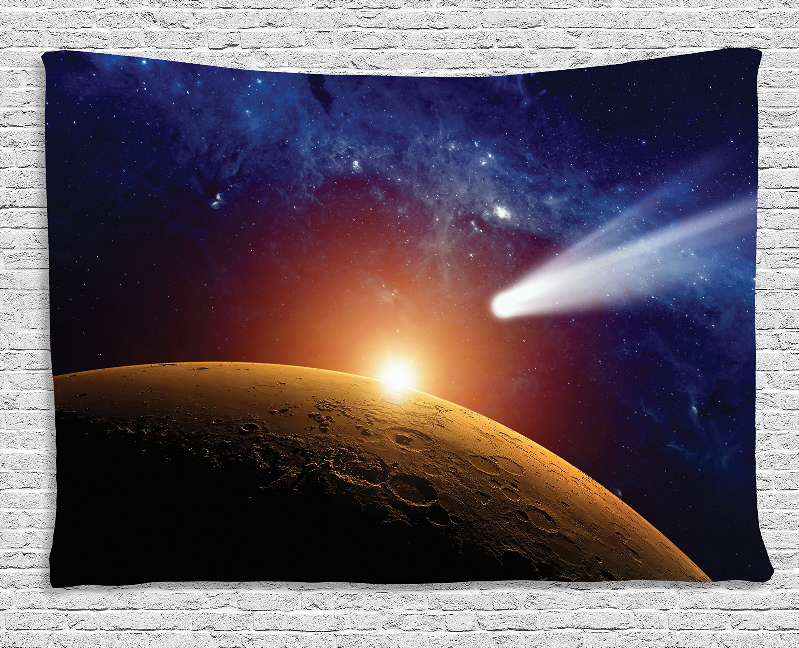 Ambesonne Outer Space Decor Tapestry, Comet Tail Approaching Planet Mars Fantastic Star Cosmos Dark Solar System Scenery, Wall Hanging for Bedroom Living Room Dorm, 80 W X 60 L, Blue and Orange