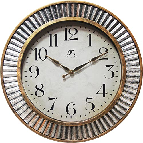 Infinity Instruments Ruche Wall Clock 16 inches Industrial Brushed Distressed Antique Silver Gold Textured Frame