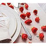 50PCS rose bocciolo di rosa rossa fiori decorativo sintetico (finta seta) Mini boccioli di rosa