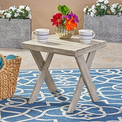 Christopher Knight Home 304415 Irene Outdoor Acacia Wood Side Table, Sandblast Light Grey