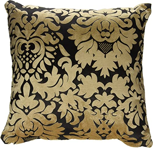 Cortesi Home DAMA Decorative Soft Velvet Square Accent Throw Pillow with Insert, 16 x 16 , Gold